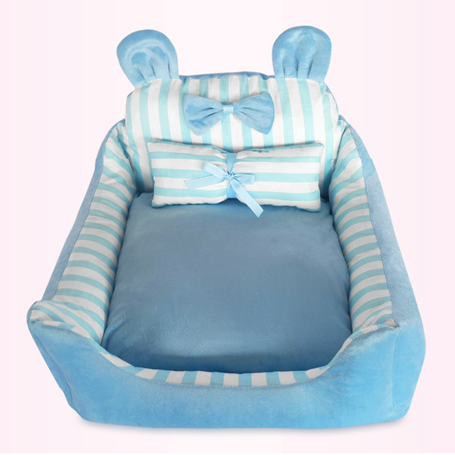 Cute Butterfly Animal Detachable Pet Bed Pink Blue Teddy Pet Dog Sofa Pet Cat Bed House Big Blanket Cushion Bask With Pillow