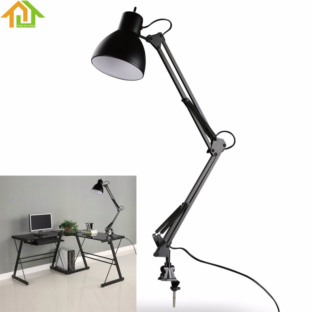 Black Flexible Swing Arm Clamp Mount Lamp Office Studio Home Table Black Desk Light