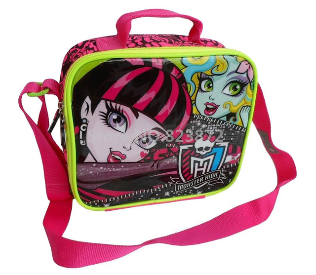 36667c27a2f8 US $14.5  Monster High Lunch Bag for Kids Girls School Thermal Lunch Box  Bag Messenger Lunchbag Lunchbox Children Cartoon Picnic Food Bag-in Lunch  ...