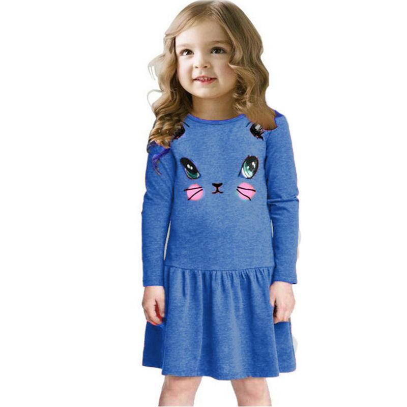Princess Girls Dress New Fashion summer Cat Print Children Long Sleeve Cartoon baby girl Cotton Party Dresses for kids