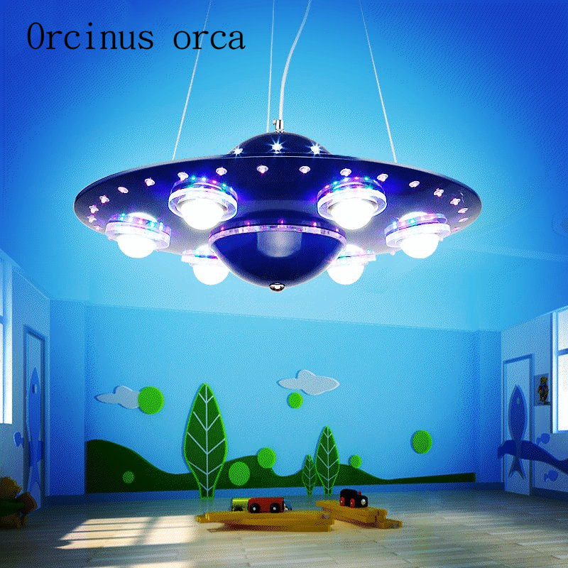 remote controlled UFO chandelier children s room boy bedroom LED flying saucer lights creative cartoon spacecraft