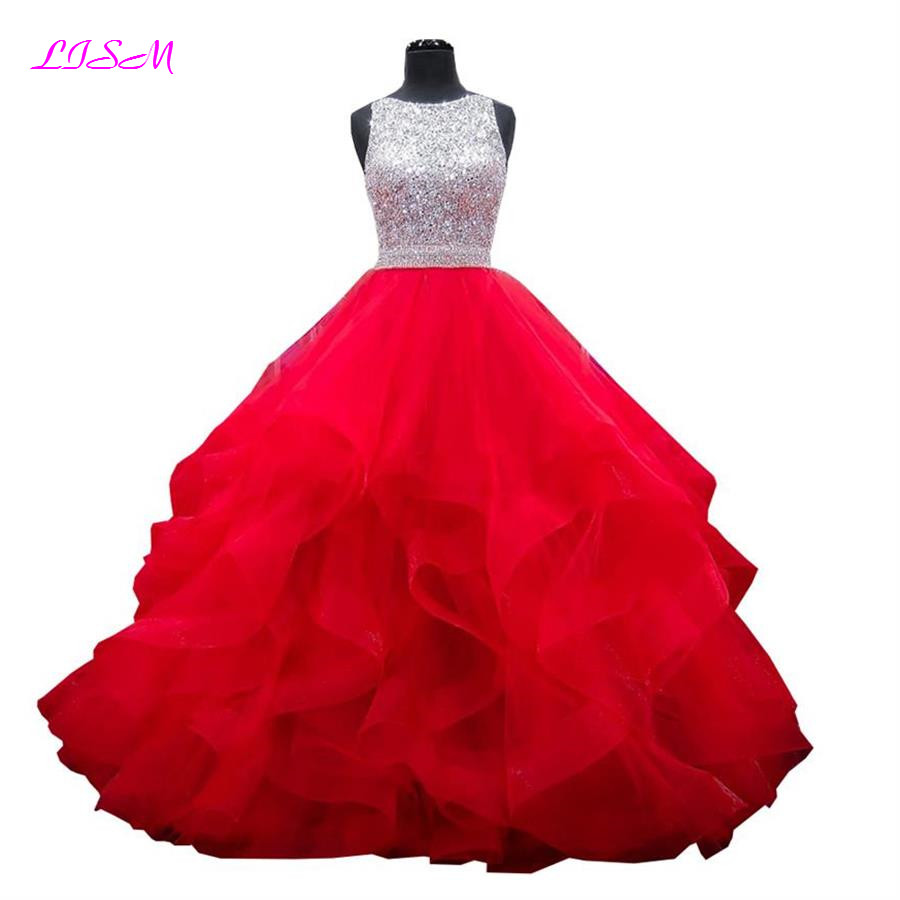 Vestidos de 15 anos Crystals Quinceanera Dresses Jewelry Ball Gown Organza Party Gowns Red Ruffled Sequins