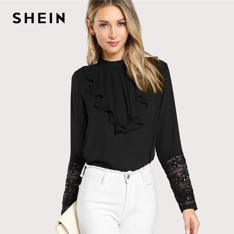 SHEIN Schwarz Streetwear Elegante Büro Dame Minimalistischen Volant Neck Spitze Manschette Rüsche Feste Bluse Herbst Frauen Arbeitskleidung Shirt Top