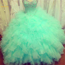 2018 New Beaded Cheap Quinceanera Dresses Ball Gown Lace Up Sweet 16 Dress For 15 Years Formal Prom Party Pageant QA1267