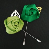 28 colors satin rose bud with silver /gold leaf -------party favor,women & men's lapel flowers-----wedding boutonnieres