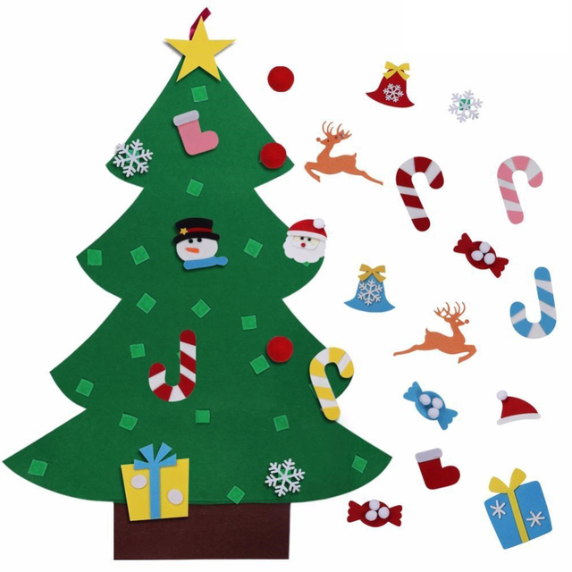 Children Christmas Tree Decorations.Us 15 48 Sj Kids Diy Felt Christmas Tree Decorations Xmas Hanging Ornaments Home Decor Happy New Year 2018 Children Christmas Gift In Pendant Drop