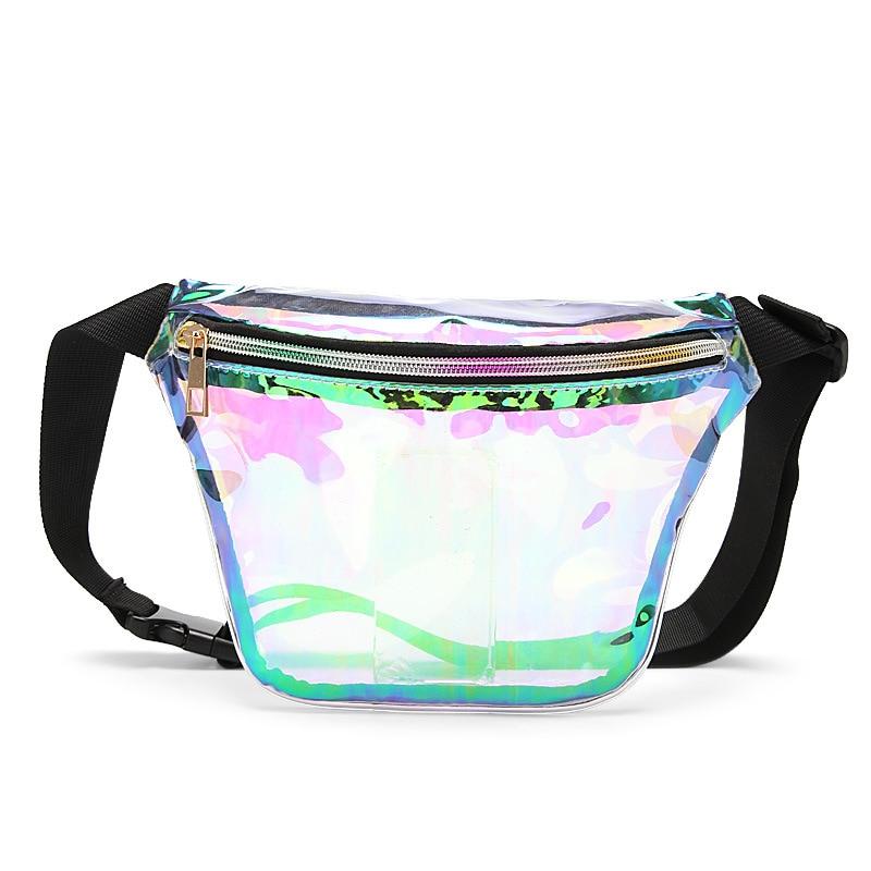 Women's Fashion Laser PVC Transparent  Waist Bag Bananka Travel Fanny Pack Women Walking Mountaineering Belly Bag Belt Bag