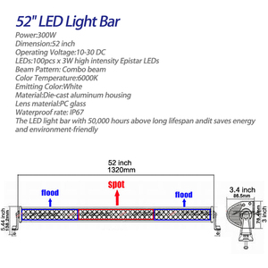 Image 3 - 1 x 300W 52 LED Light Bar Headlights + Windshield Mounting Brackets +  for Jeep Wrangler JK 07 15 4WD SUV Wiring Switch Kit