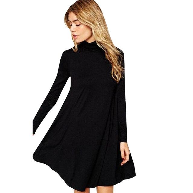 2016 vestidos новая осень зима 7 цвета женщины червь повседневная твердые партии черный с длинным рукавом мини свободные высокой талией платья