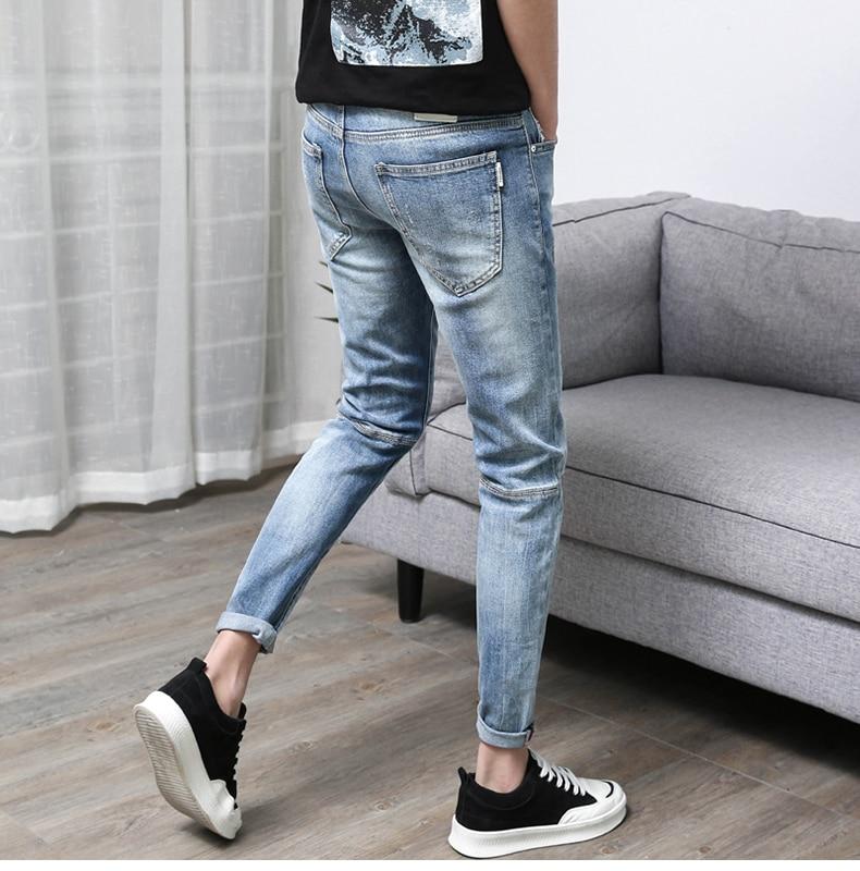 KSTUN Men's Jeans Ripped Korean Cotton Broken Man Holes Retro Summer Hip hop Patched Punk Style