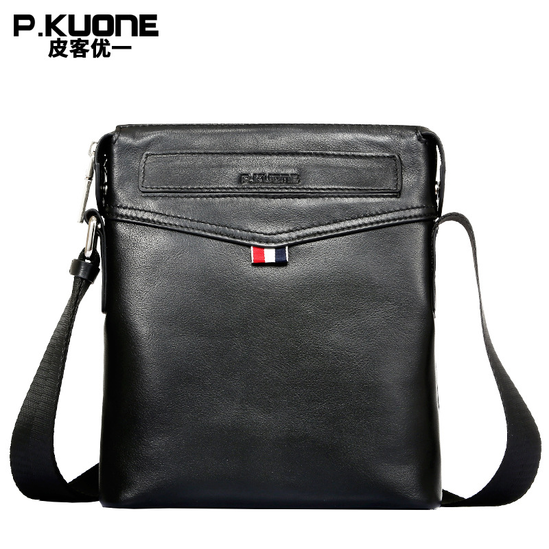 12ee506178 High Quality Men Messenger Bag Fashion Genuine Leather Briefcase Bag Casual  Crossbody Business Bag Black P611013