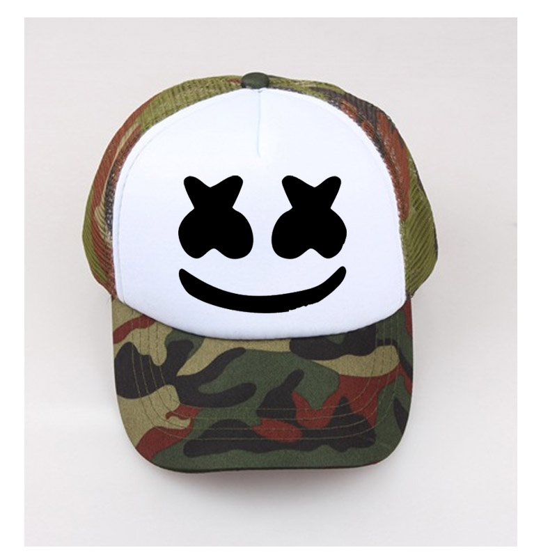 Marshmello Face Hat Kids baseball cap Face Adult Sun Caps Men's Summer black hats adjust size Child/Unisex Net Cap Custom LOGO(China)