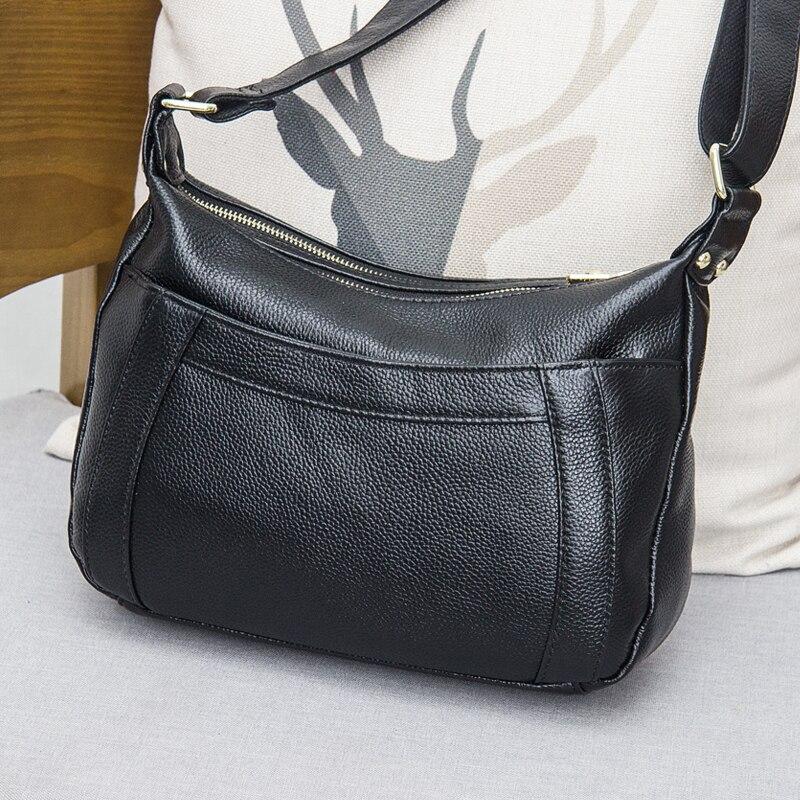 2017 New Genuine Leather Type Of Leisure Soft Bag Female Bag Multilayer Oblique Back Crescent Bag  Simple Shoulder Bag #L145