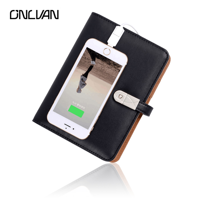 ONLVAN 3 In 1 Business Notebook with 4000mAh Power Bank 16GB PU Leather Travelers' Notebook Special Gift Office Accessories navy color manager notebook with 6000 mah power bank office supply document bags business travel accessories accept oem order