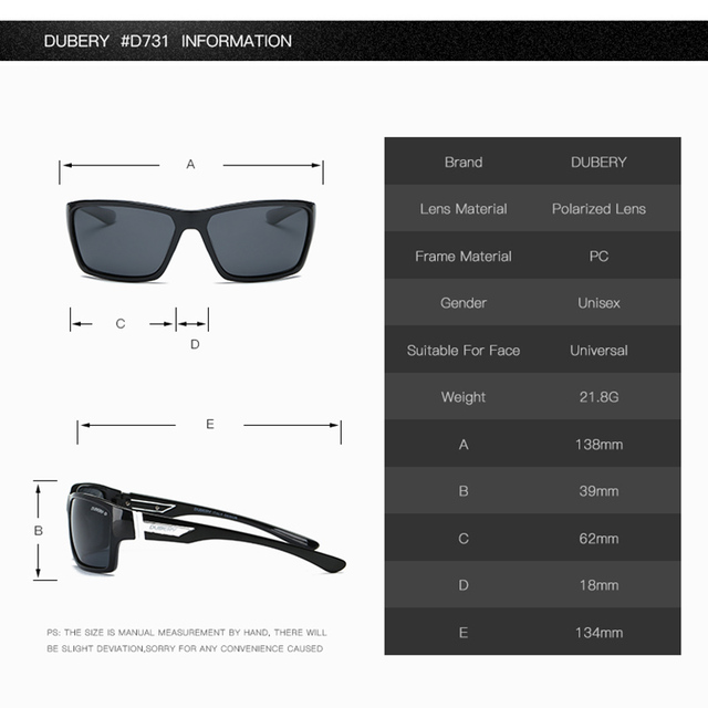 DUBERY Polarized Sunglasses Men's Driving Shades Male Sun Glasses For Men Safety 2017 Luxury Brand Designer Oculos