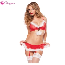 DangYan Sexy Christmas Costumes Red Babydoll Erotic Lingerie set  Sexy Underwear Sexy Skirts transparent sexy cloths nightie