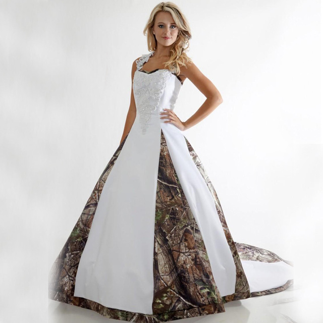 Plus Size Camo Wedding Dress Lace White Camouflage Ball Gown Bridal ...