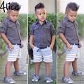 2016 Летняя мода мальчика костюм Футболка + брюки 2 шт./компл. детская одежда с коротким рукавом брюки Детская одежда Бесплатная доставка