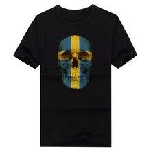 2016 New Fashion Men's CLASSIC SWEDEN SKULL FLAG T-shirts Short Sleeve t shirts Man Clothing 100% Cotton Short Sleeve