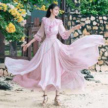 Free Shiping Boshow 2019 New Fashion Women Long Maxi Ruffles Three Quater Sleeve Spring Autumn Bohemian Chiffon S-L Dresses