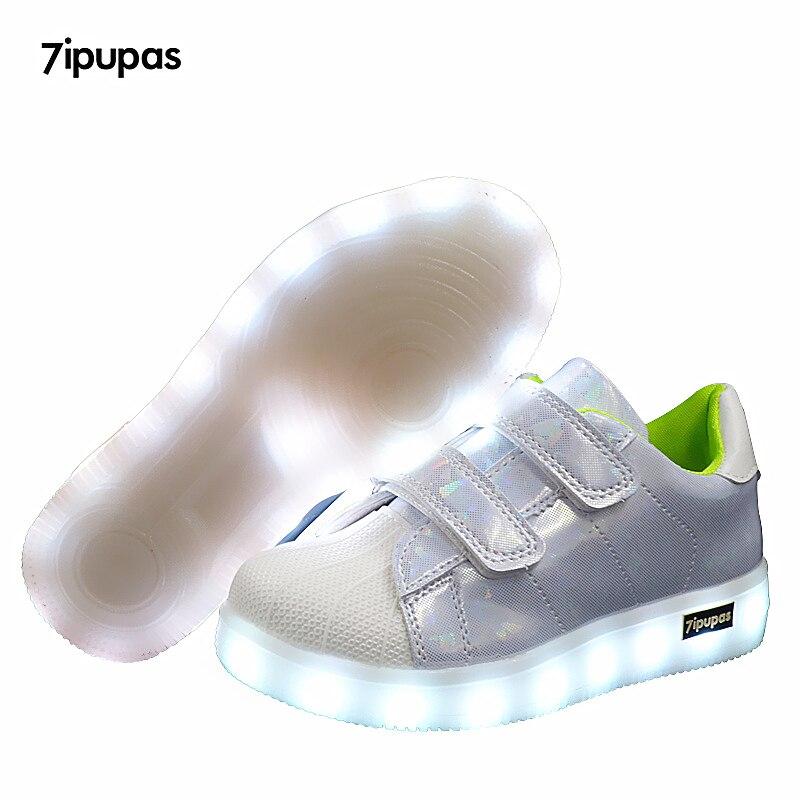 7ipupas Shell White Slip On USB Charger LED Shoe For Girls Glowing Sneakers Kids Light Up