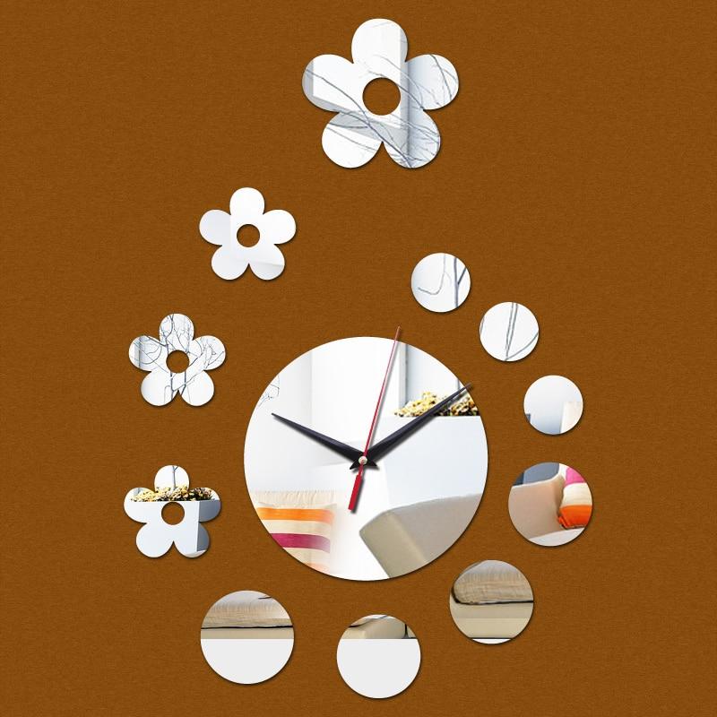 2015 apressado promoção relógios de parede relógio moderno flor acrílico 3d espelho adesivo relógio diy decoração home freeshipping