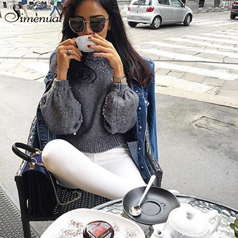 Simenual Autumn winter 18 women sweaters and pullovers bead lantern sleeve knitted sweater pullover female grey slim jumpers 9