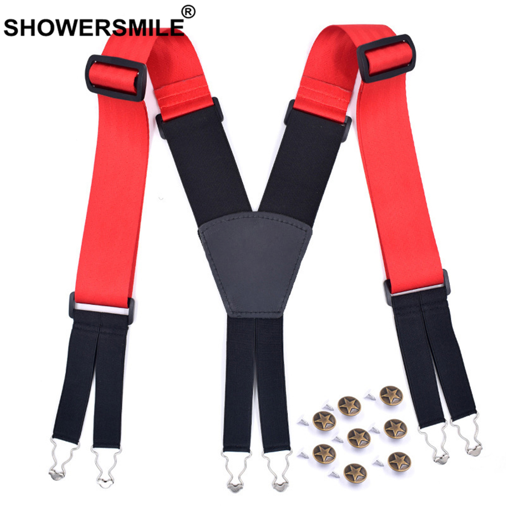 SHOWERSMILE Wide Suspenders 5cm Mens Braces for Trousers High Quality Plus Size 6 Buckles X Back Casual Elastic Male Pants Strap