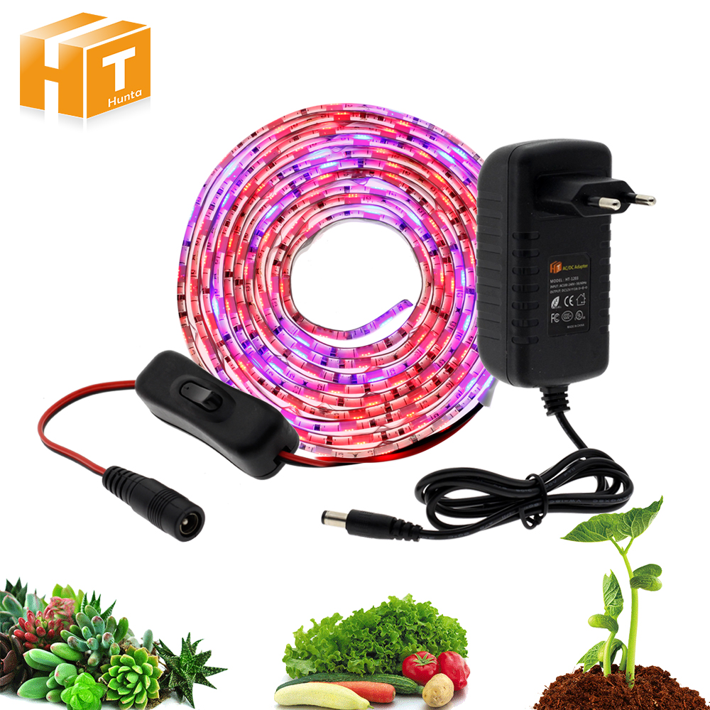 Indoor LED Grow Lights DC12V 5630 Waterproof Growing LED Strip Plant Growth Lamp Set 1M 2M 5M With Adapter And Switch
