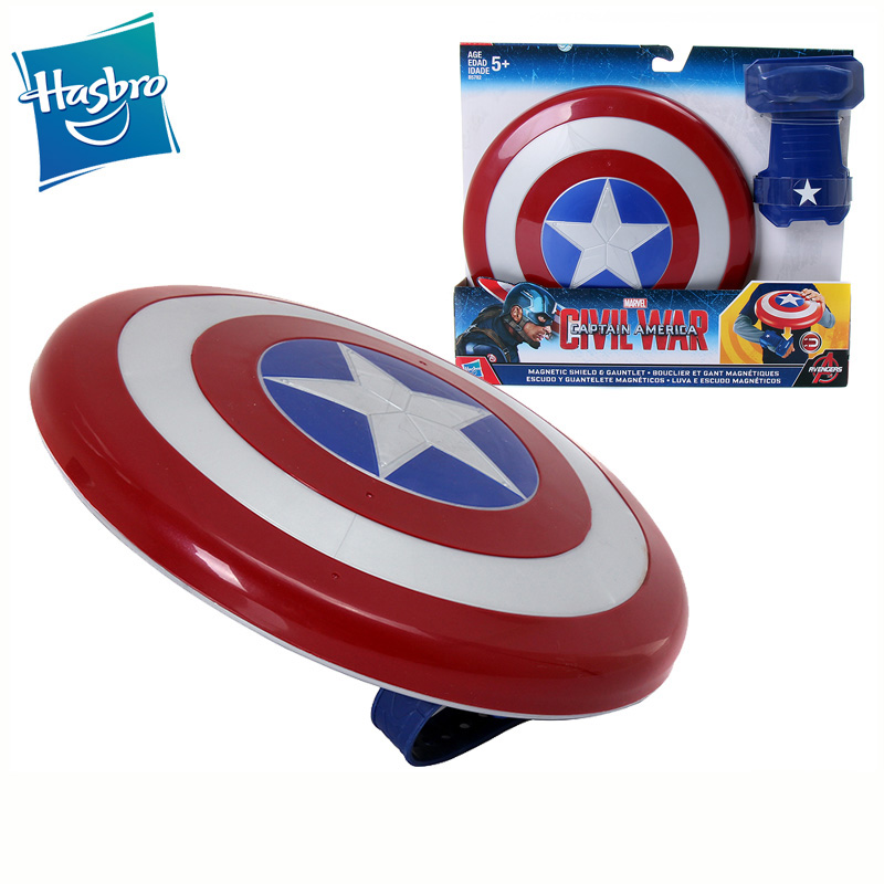 Original Hasbro cartoon figure Captain America Magnetic Flying Shield Outdoor Boys Cosplay Toys for Children Gymnastics Gifts