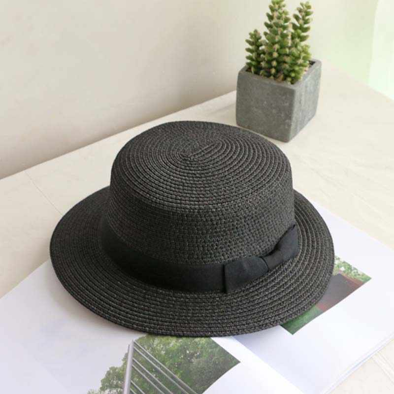 9d58bffd81829 ... wholesale 2019 flat bow straw hat girls summer sun Hats For Women Beach  boater hat ladies ...