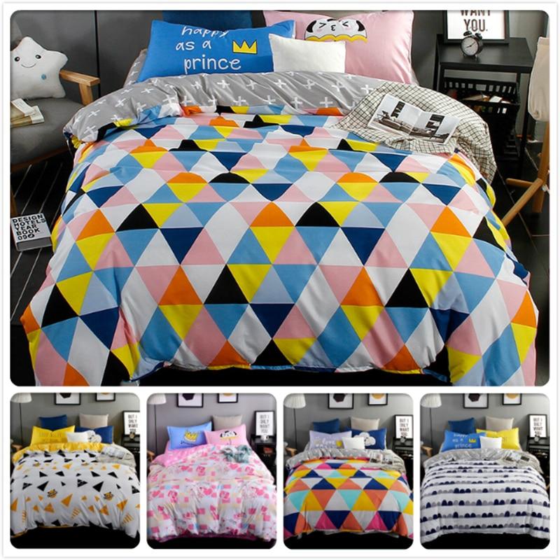 Colourful Geometric Pattern 3/4 pcs Bedding Set 1.5m 1.8m 2m Bedsheet 6 feet 4pcs Bedlinen Beds Sets Duvet Cover Kids Bedclothes