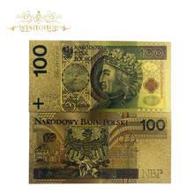Wishonor 10 pçs/lote 100 Bill PLN Polónia Papa de Notas Notas De Ouro para a Coleta de 999 de Ouro. Luva plástica livre do polímero