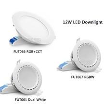 12W 2.4G Miboxer Dual White/RGB+CCT/RGBW LED Downlight AC86-265V FUT061/FUT066 Led panel light Round dimmable&remote