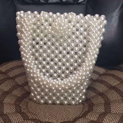 2019 Brand new pearls bag beaded box totes bag women evening party handbag summer luxury brand