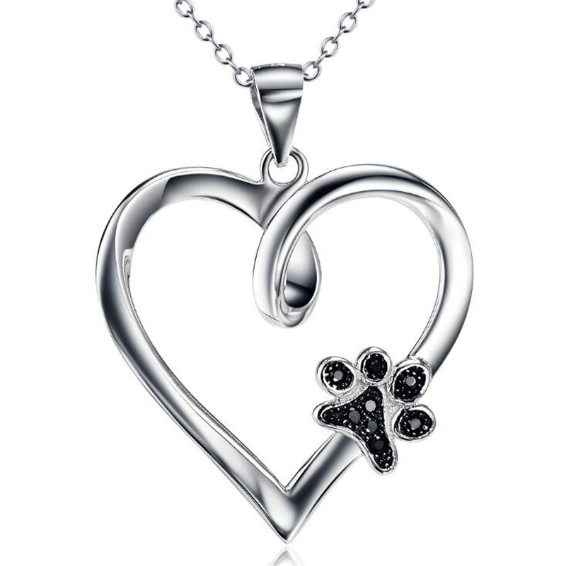 Cute Pet Puppy Palm Paw Mark Print Heart Necklace for Women Fashion Dog Paw 925 Sterling Silver Necklace Choker