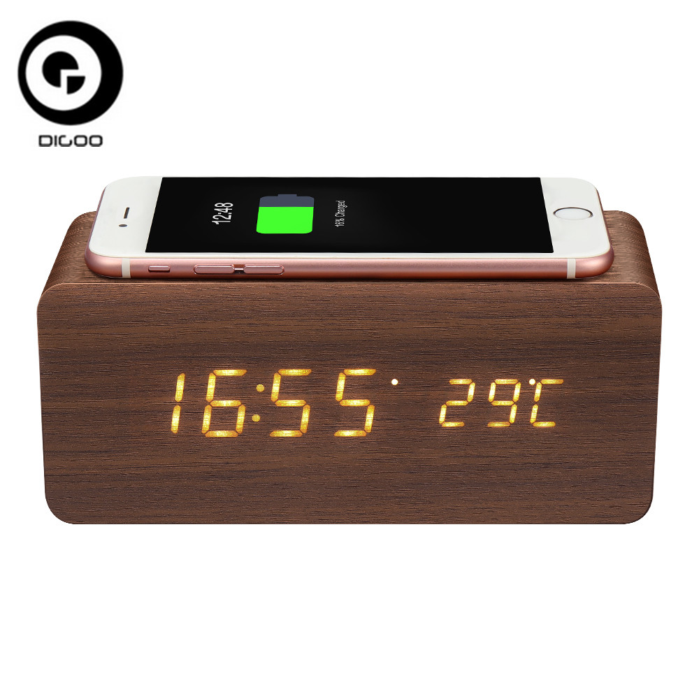 Digoo DG-AC80 Wireless Charging Voice Control Digital Wooden Alarm Clock LED 12/24 Hour Display Thermometer Temperature Clock