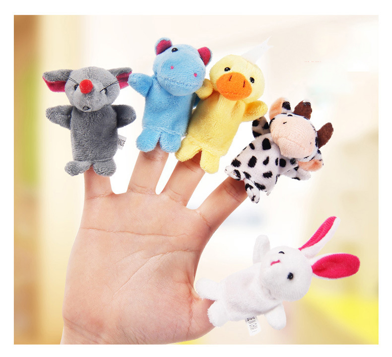 2//10Pcs Finger Puppet Cloth Plush Doll Baby Educational Hand Cartoon Toy Cute EH