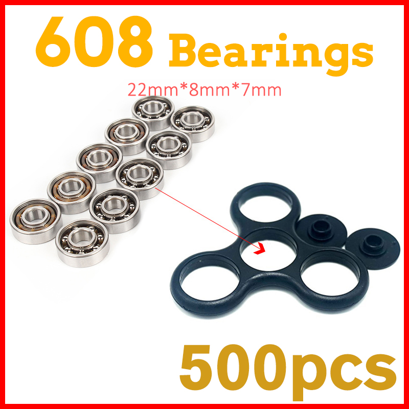 500Pcs 608 Ball Bearings For hand spinner fidget spinners led light aluminium batman spiner ri-spinner handspinners tri fidget hand spinner triangle metal finger focus toy adhd autism kids adult toys finger spinner toys gags