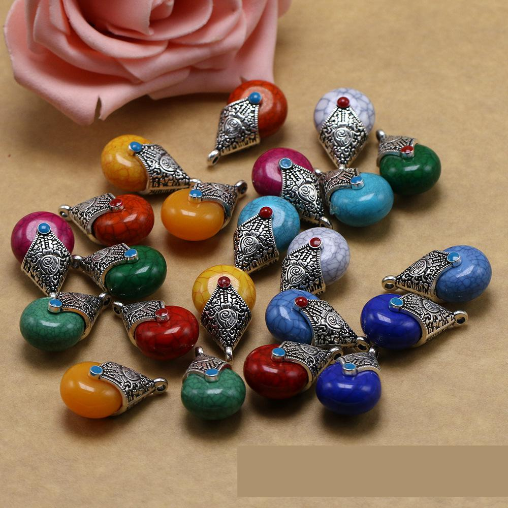 Tibetan Silver Charms Water Drop Beads Natural Stone