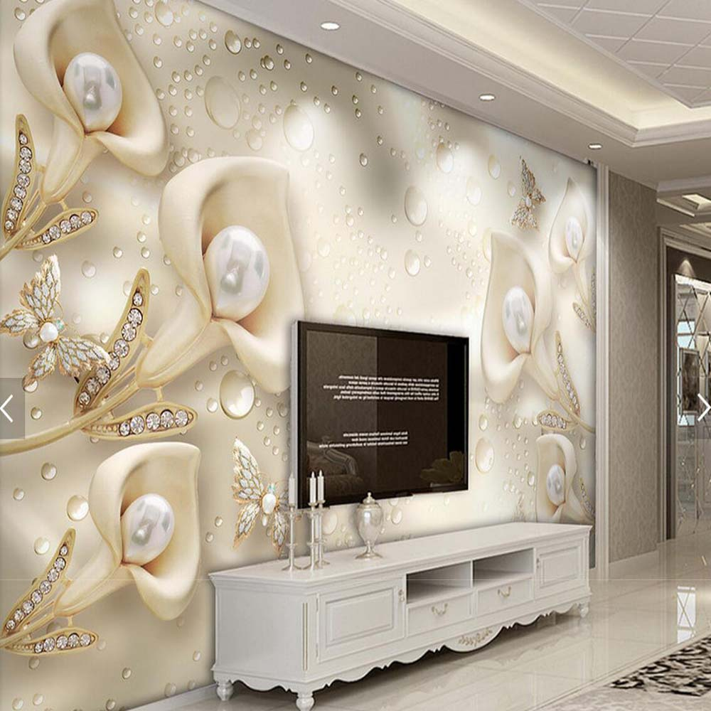 3d Wallpaper For Living Room Wall 3d Embossed Flower Jewelry Pearls Photo Wallpaper Mural