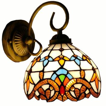 Tiffany Mediterranean Glass Bedroom Bedsides Wall Lamp European Living Room Hallway Wall Lights Balcony Stairs Wall Lights