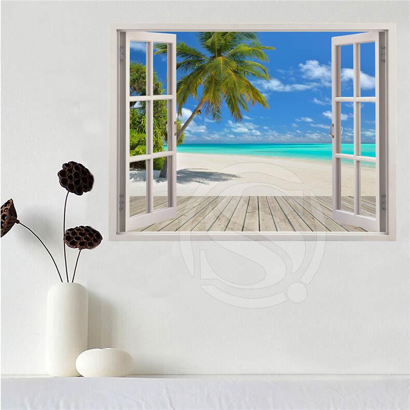 Custom canvas poster Beach of the Caribbean in the window poster cloth fabric wall poster print Silk Fabric Print SQ0611-LQ05