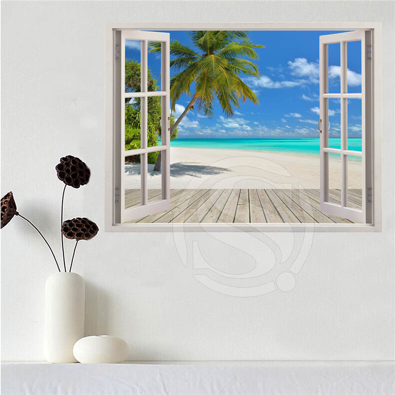 Custom canvas poster Beach of the Caribbean in the window poster cloth fabric wall poster print Silk Fabric Print SQ0611-LQ05 image