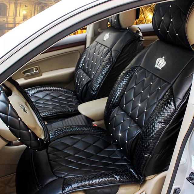 Queens Luxury Car Seat Cover Full Surround Rivet Universal PU Leather Covers Styling