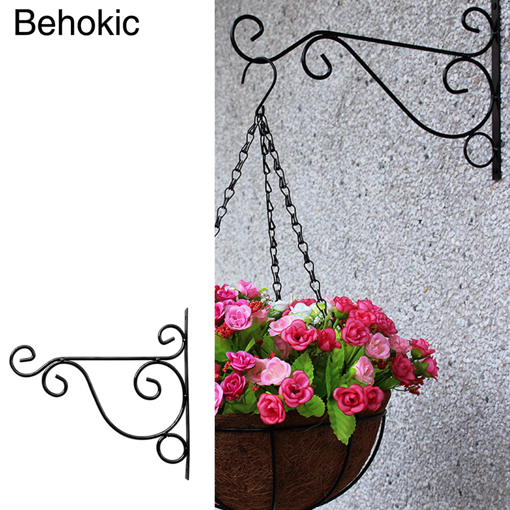 Behokic metal plant hanger bracket wall hanging plants for Decoration metal pour jardin