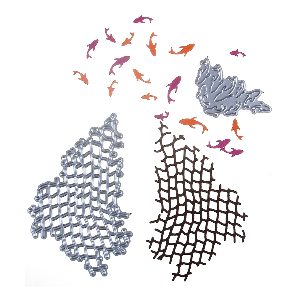 Fishing Net Fishes Border Metal Cutting Dies Stencil for DIY Scrapbooking Album Paper Cards Decorative Crafts Embossing Die Cuts