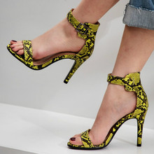 Womens High Heel Summer Shoes Single Strap Open Toe Sandals Street Snake-grain Pattern Yellow