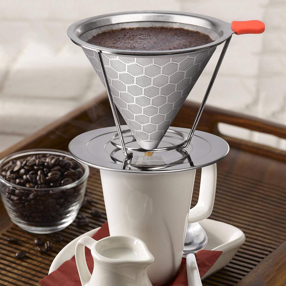 Honeycombed Stainless Steel Coffee Filter Reusable Pour Over Dripper Brush Cup Coffee Filters Kitchen Coffeeware