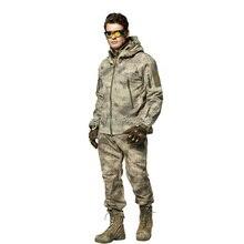 Уличная куртка из кожи акулы, куртка с капюшоном для охоты, кемпинга, водонепроницаемая ветрозащитная куртка из полиэстера TAD, флисовая куртка+ штаны, верхняя одежда